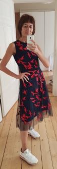 """Boss Kleid """"Enerva"""" mit Mesh und Vogelstickerei"""